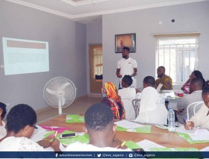 Itoro Ekanem making presentation to young advocates