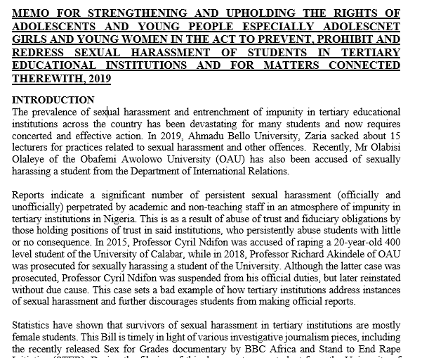 CSOs Memo for Sexual Harassment in Tertiary Institutions (Prohibition) Bill