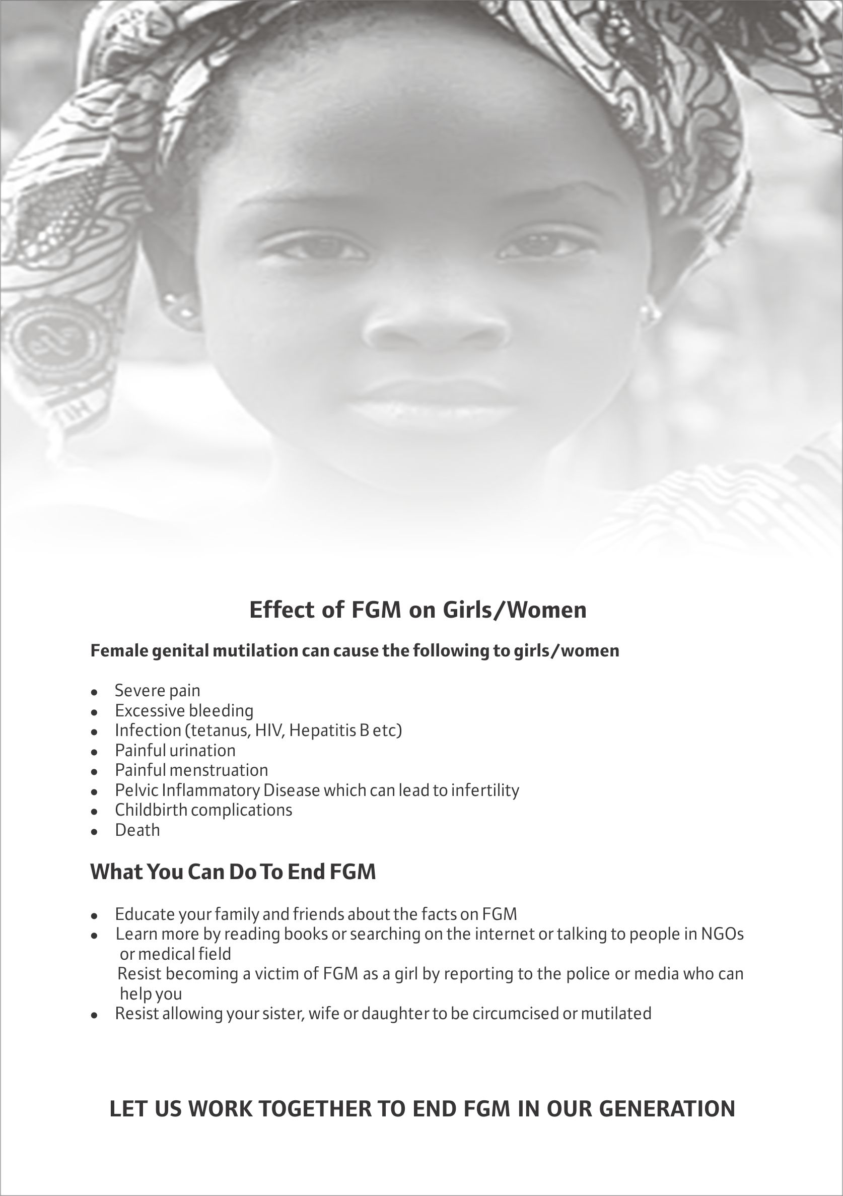Effect of FGM on Girls/Women