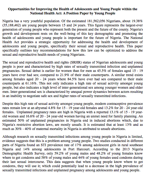 NHA Position Paper