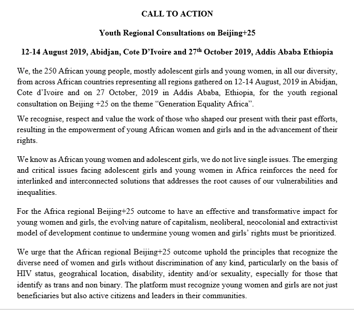 CALL TO ACTION: Youth Regional Consultations on Beijing+25
